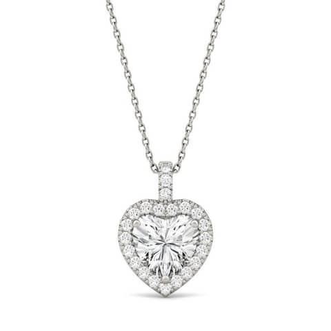 Moissanite by Charles & Colvard 14k White Gold Heart Halo Necklace 2.13 TGW