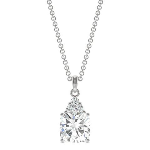 Moissanite by Charles & Colvard 14k White Gold Cushion Drop Pendant 1.79 TGW