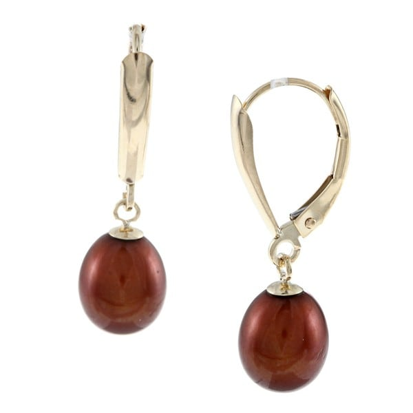 14-karat-gold Earrings with Brown Cultured Freshwater Pearls