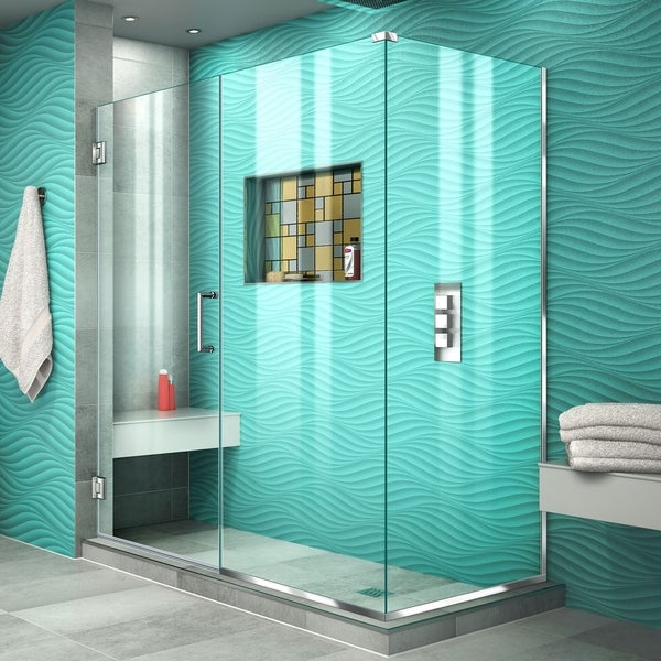 "DreamLine Unidoor Plus 53 in. W x 34 3/8 in. D x 72 in. H Frameless Hinged Shower Enclosure - 34.38"" x 53"""