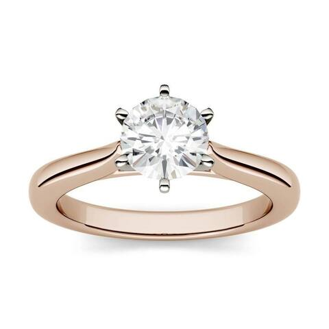 Moissanite by Charles & Colvard 14k Rose Gold Two Tone Solitaire Engagement Ring 1.00 TGW