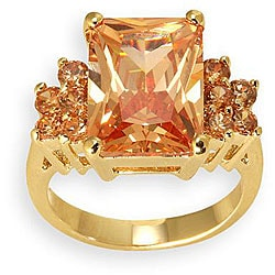 Simon Frank 14k Gold Overlay Orange CZ Diamoness Cocktail Ring