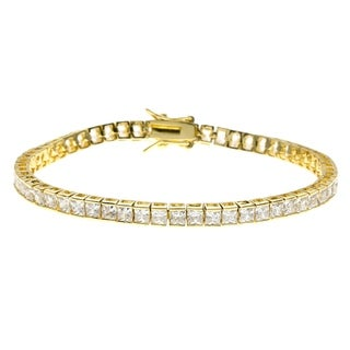 Simon Frank 5.94 Equal Diamond Weight 14K Yellow Gold Overlay CZ Princess Cut Tennis Bracelet