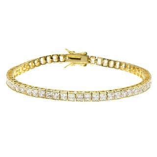 Simon Frank Designs 5.94 ct TDW Yellow Gold Overlay CZ Princess Cut Tennis Bracelet - Silver|https://ak1.ostkcdn.com/images/products/2885762/P11054427.jpg?impolicy=medium