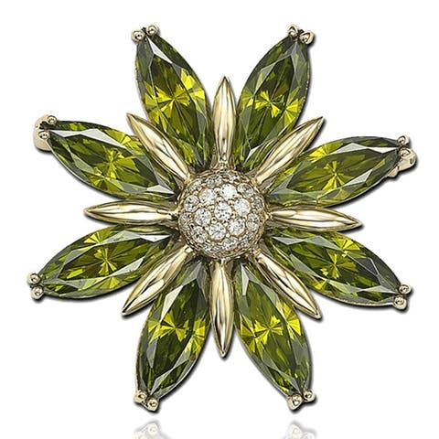 Suzy L. Cubic Zirconia Sterling Silver Green Flower Brooch