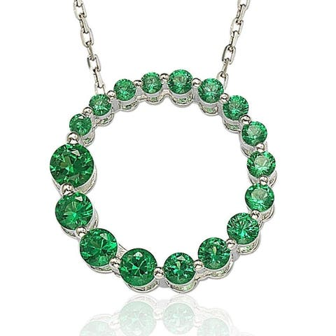 Suzy L. Sterling Silver Emerald Green Cubic Zirconia Circle Journey Necklace