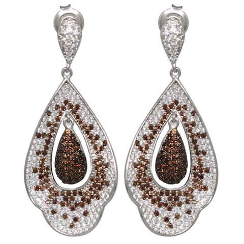 Suzy L. Cubic Zirconia Sterling Silver White & Chocolate Dangle Earrings