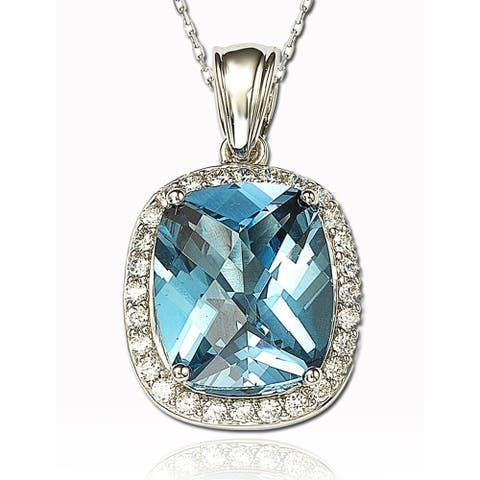 Suzy L. Simulated Topaz Sterling Silver & Pendant - Blue