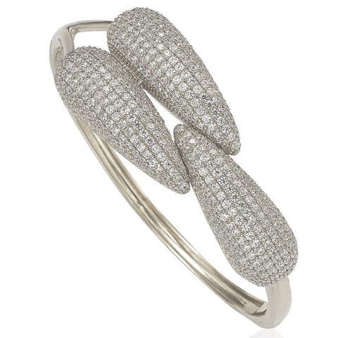 Suzy L. Pave Cubic Zirconia Sterling Silver Bybass Bangle - White