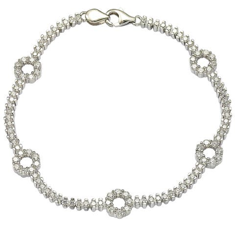 "Suzy Levian Pave Cubic Zirconia Sterling Silver 7.25"" Floral Tennis Bracelet - White"