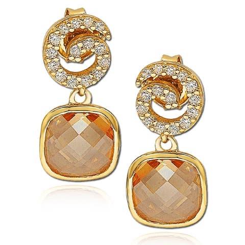 Suzy Levian Cubic Zirconia Sterling Silver Swirl Dangle Earrings