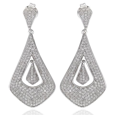 Suzy Levian Pave Cubic Zirconia Sterling Silver Dangle Drop Earrings