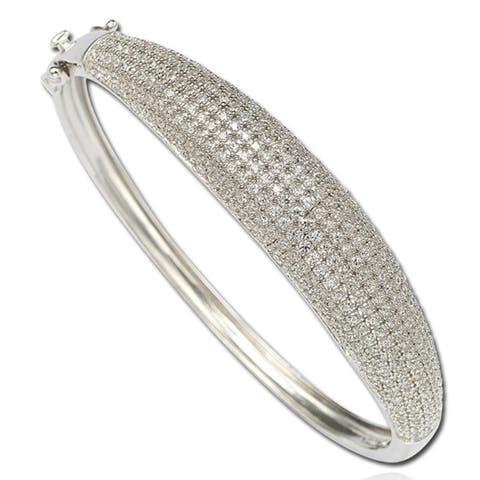 Suzy Levian Cubic Zirconia Sterling Silver Pave Bangle - White