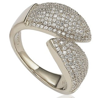 Suzy L Pave Cubic Zirconia Sterling Silver Bypass Ring