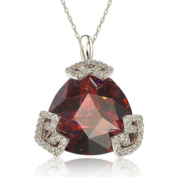Suzy Levian Sterling Silver Cubic Zirconia Trillion-cut Necklace. Opens flyout.