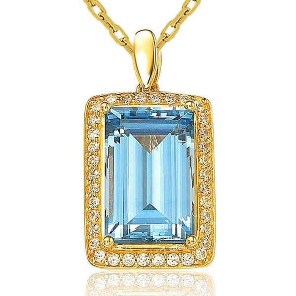 Suzy Levian Gold Over Sterling Silver Cubic Zirconia Color Solitaire Halo Pendant Necklace. Opens flyout.