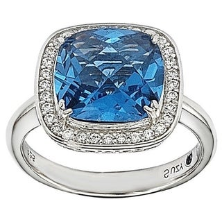 Suzy L Sterling Silver Blue And White Cubic Zirconia Halo Ring