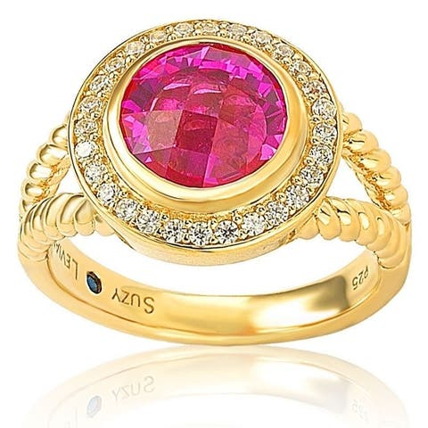 Suzy L. Goldplated Sterling Silver Created Pink Sapphire Cubic Zirconia Rope Ring