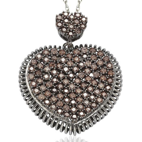 Suzy L. Pave Cubic Zirconia Sterling Silver Chocolate / White Heart Pendant