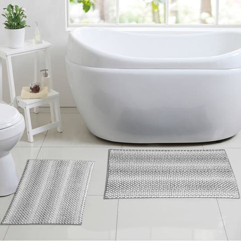 Madison 2 Piece Chenille Bath Rug Set (Assorted Colors)
