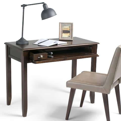 WYNDENHALL Portland SOLID WOOD Transitional 42 inch Wide Writing Office Desk in Mahogany Brown