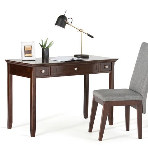 WYNDENHALL Normandy SOLID WOOD Rustic 48 inch Wide Desk in Brunette Brown