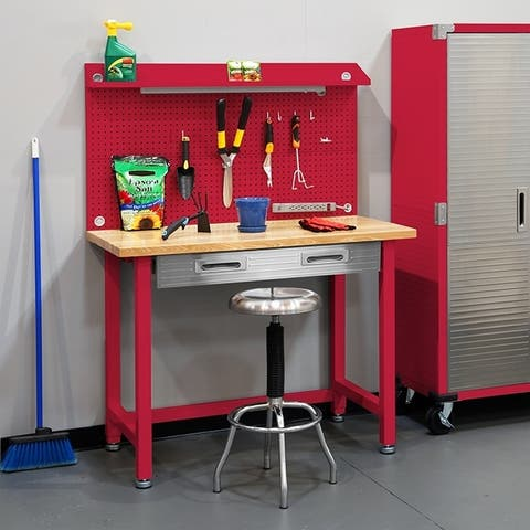 Seville Classics 48 in. W x 24 in. D x 65.5 in. H Red UltraHD Lighted Workbench