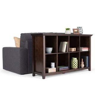 WYNDENHALL Normandy Solid Wood 57 inch Wide Rustic 8 Cube Storage Sofa Table - Brunette Brown