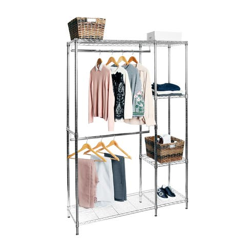 Seville Classics 48 in. W x 16 in D x 72 in. H Steel Wire Adjustable Garment Rack with Shelves