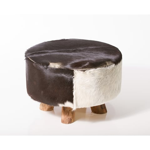 Carbon Loft Ocepek Round Leather Genuine Hide Ottoman