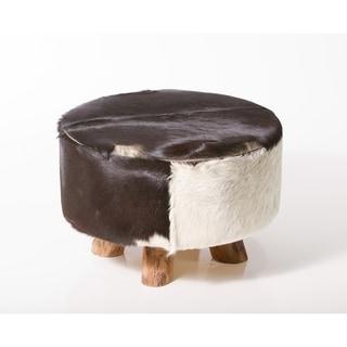 Carbon Loft Ocepek Round Leather Genuine Hide Ottoman