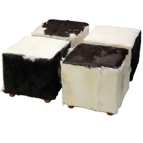 Bare Decor Peru Black Cowhide Cube Ottoman in Genuine Hide Leather