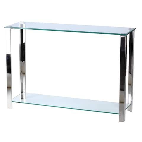 "Cortesi Home Melissa Double Shelf Glass Console Table, 43"""