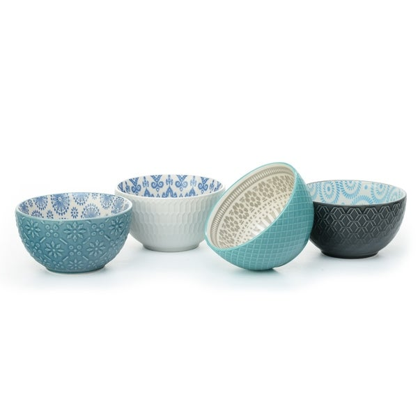 Signature Housewares Pad Print 11 Set of Four 6-Inch Bowls