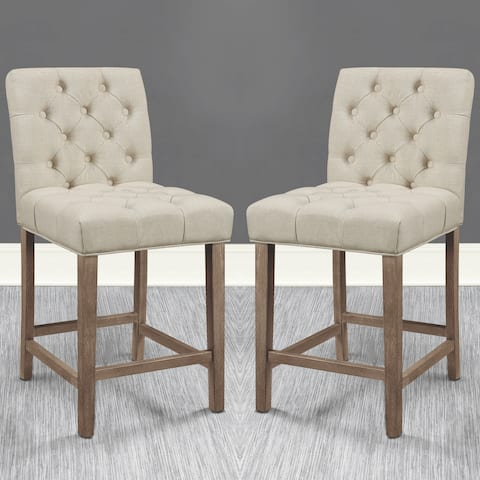 Transitional Elegant Button Tufted Design Upholstered Counter Height Stools (Set of 2)