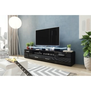 "Evora 76"" Wide High Gloss Fronts Matte Body Modern TV Stand"