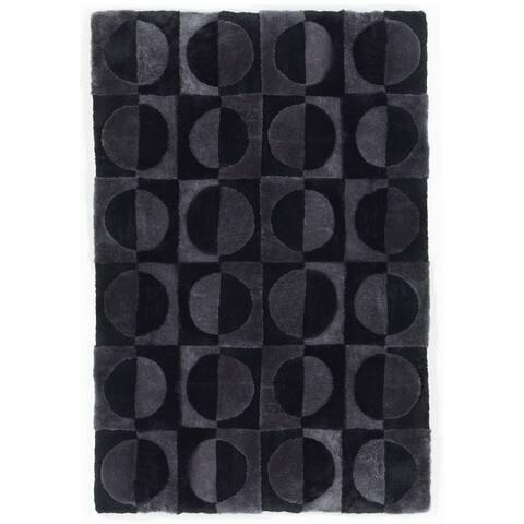 Short wool/shearling design rug Circles - Big