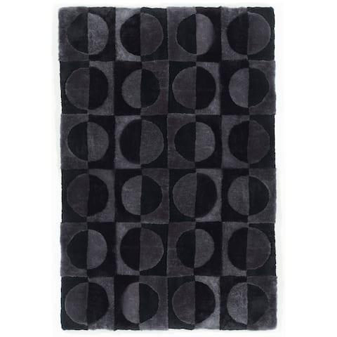 Short wool/shearling design rug Circles - 6.6x9.8'
