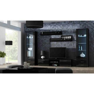 Soho 4 Modern Wall Unit Entertainment Center with 16 Color LED Lights
