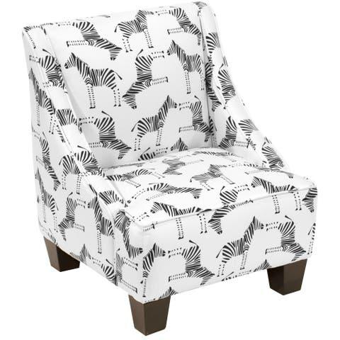 "Skyline Furniture Kids Swoop Arm Chair in Block Zebra Black White - 18""W X 18""D X 22""H"