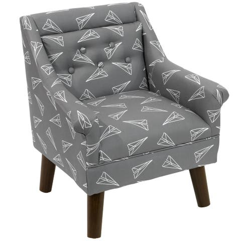 "Skyline Furniture Modern Chair in Paper Planes Grey - 21""W X 19""D X 23""H"