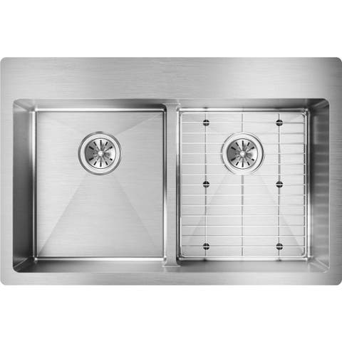 "Elkay Crosstown Stainless Steel 33"" x 22"" x 9"", Equal Double Bowl Dual Mount Sink Kit with Aqua Divide"