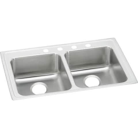 "Elkay Lustertone Classic Stainless Steel 33"" x 21-1/4"" x 6"", Equal Double Bowl Drop-in ADA Sink"