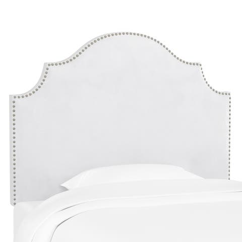 Skyline Furniture Nail Button Notched Headboard in Velvet