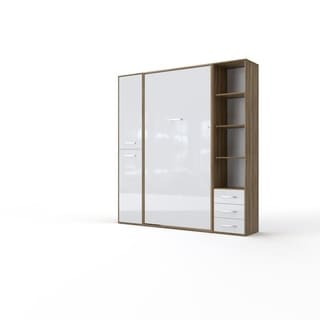 Invento Vertical Wall Bed, European Full Size with 2 cabinets (Oak Country/White)