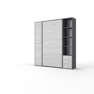 Invento Vertical Wall Bed, European Full Size with 2 cabinets (Grey/White Monaco)