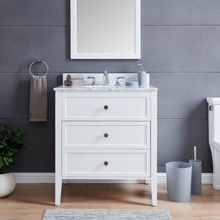 The Gray Barn Bentley Modern Farmhouse White Stone 30-inch Vanity Sink