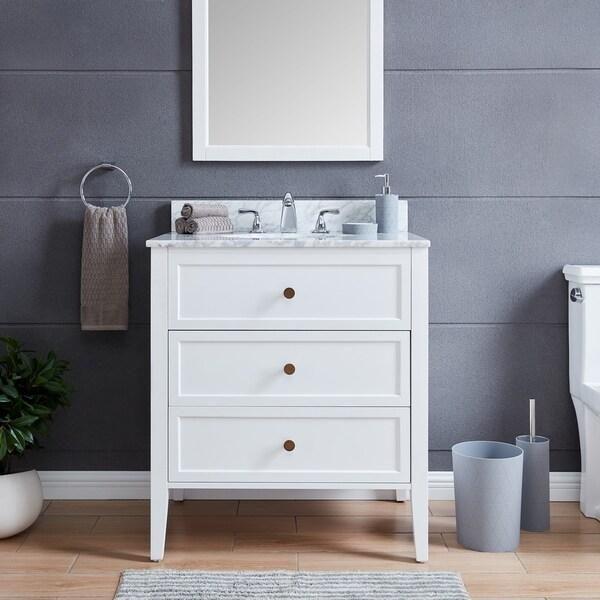 The Gray Barn Bentley Modern Farmhouse White Stone 30-inch Vanity Sink