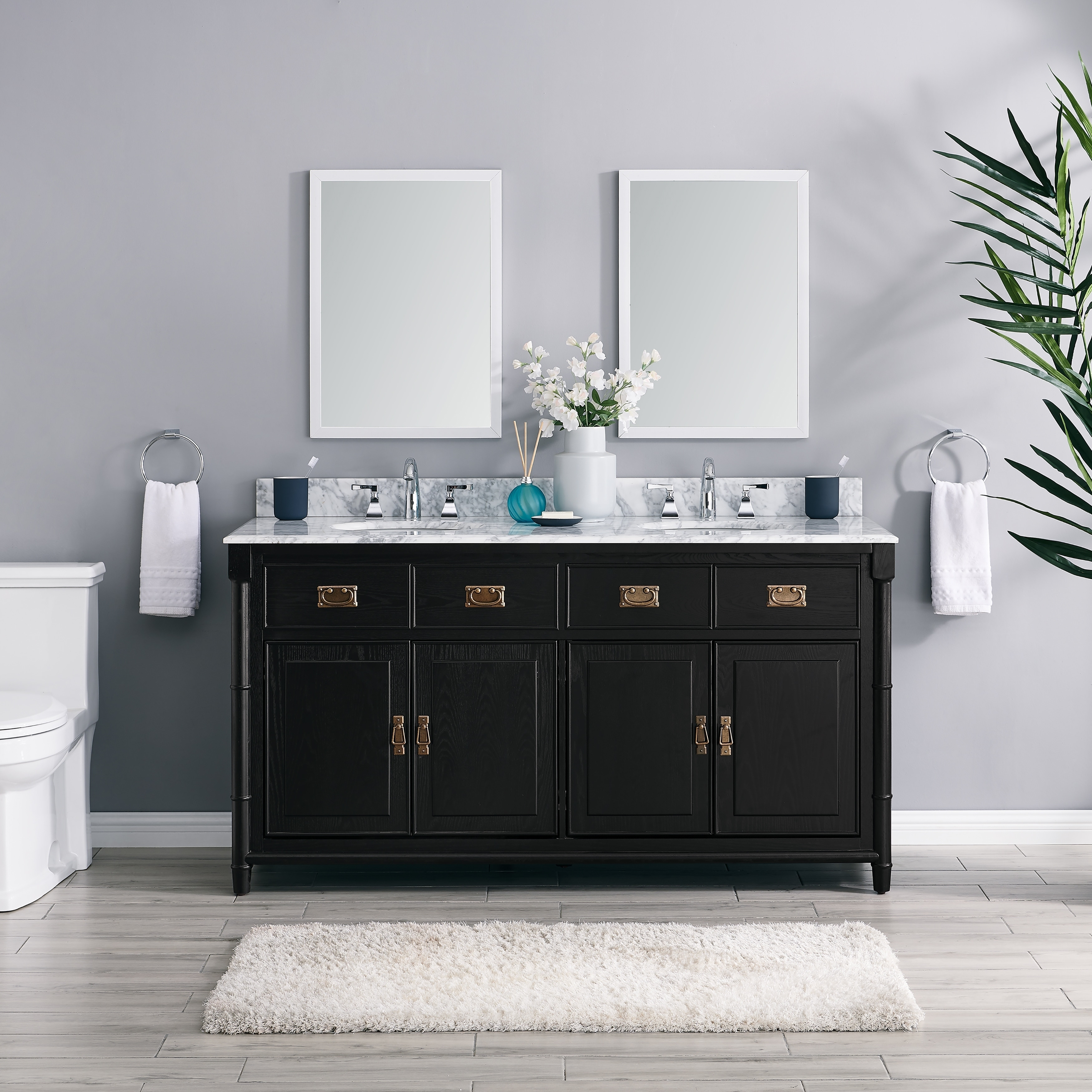 The Gray Barn Finley 5-inch Black Vanity with Marble Countertop