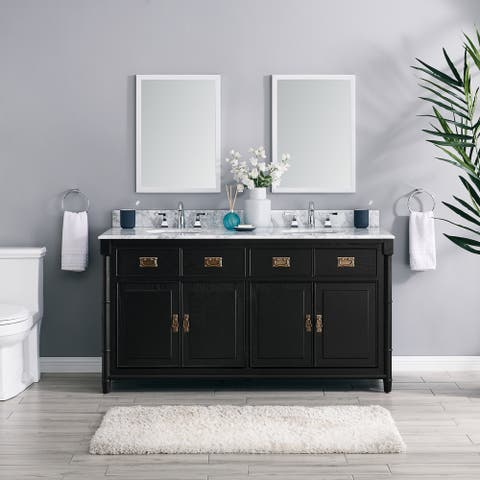 The Gray Barn Finley 64-inch Black Vanity with Marble Countertop